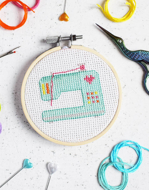 Sewing Machine Mini Cross Stitch Kit, The Make Arcade