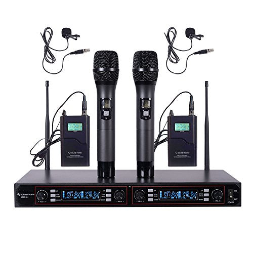NESO-U4HL <br/>200-Channel Rack Mountable Pro UHF Wireless Microphone System w/ Metal Receiver, 2 Handheld Mic, 2 Lavalier Mic, 2 Bodypack Transmitter