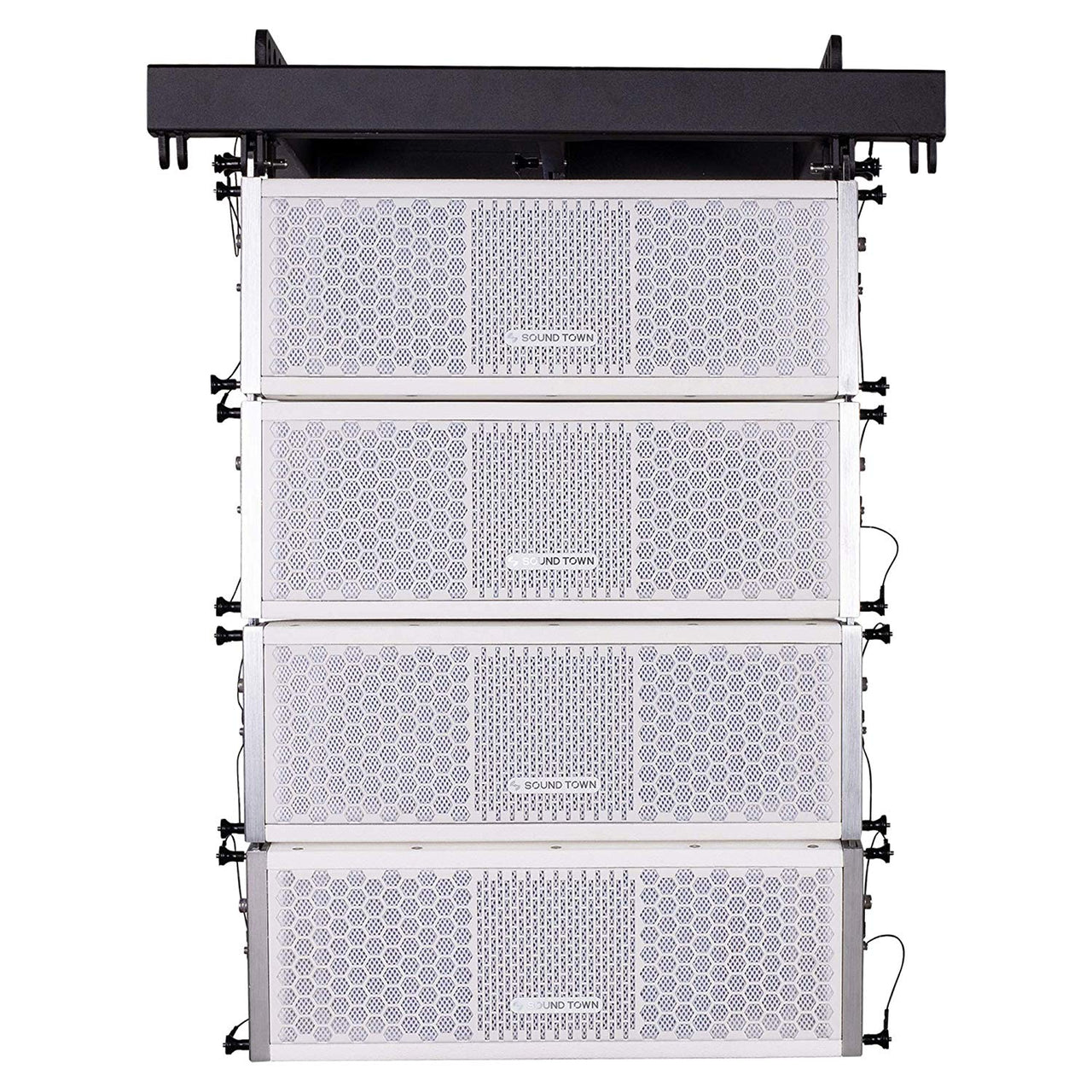 Sound Town ZETHUS Series Line Array Speaker System with Four White Compact 2 X 5-inch Line Array Speakers, White (ZETHUS-205WV2X4)