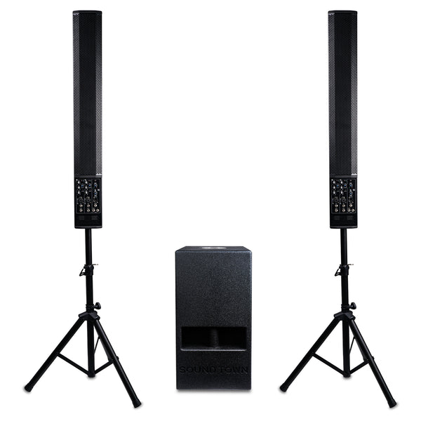 "Sound Town CARPO-V5-110 CARPO Series Column Speaker PA System with Two 6 x 5"" Column Speakers, One 10"" Subwoofer, Two Speaker Stands"