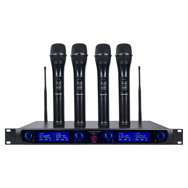 Sound Town NESO-F4HH NESO Series 4 Channels Professional UHF Wireless Microphone System with Rack Mountable Metal Receiver and 4 Handheld Mics, for Church, School, Outdoor Wedding, Meeting, Party and Karaoke