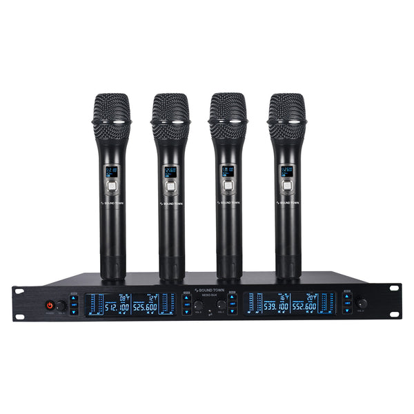 Sound Town NESO-SU4HH NESO Series Metal 200 Channels Metal UHF Wireless Microphone System with Rack Mountable Receiver, 4 Handheld Mics and Auto Scan, for Church, School, Outdoor Wedding, Meeting, Party and Karaoke