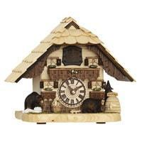 Cuckoo Clock - Hermle BENDORF Tabletop Quartz Cuckoo Clock With Two Carved Bears #66000 By Trenkle Uhren