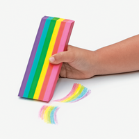 Kid holding a Rainbow Jumbo Scented Eraser erasing rainbow coloring