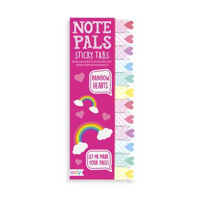 Note Pals Sticky Tabs with cute and colorful hearts