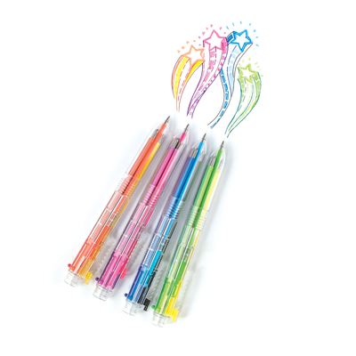 All Four 6 Click Multi Color Gel Pens drawing colorful star patterns on a white background