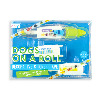 Dogs on a Roll Decorative Sticker Tape with 3 sticker tape cartridges