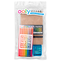 Jumbo Brights Sketch Happy Pack with colored pencils and sketchbook in a pouch