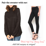 Black Turtleneck Sweater with Contrasting Top & Bottom & Optional Drawstring Waist