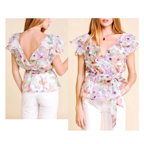Lilac Floral Ruffle Blouse with Tie Waist & V-Back