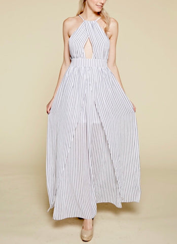 White Stripe Maxi Dress with Crisscross Teardrop Front with Back Tie