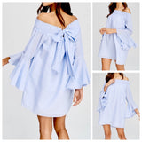 Blue Seersucker Flutter Bell Sleeve Smocked Dress with Bow Back