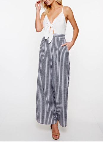 Striped Palazzo Pant Jumpsuit with Front Tie and Adjustable Straps