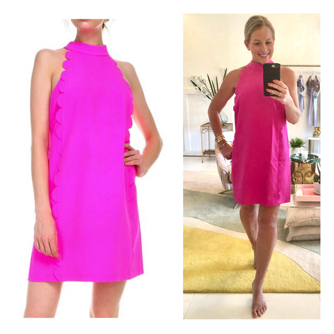 Magenta Halter Shift Dress with Front & Rear Scalloped Columns