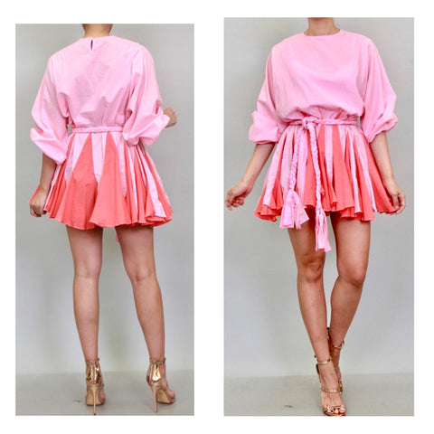 Pink Pleated 2 Tone Designer Inspired Adjustable Puff Sleeve Flare Dress with Optional Braided Belt