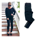 Black High Waisted Moto Leggings WITH SIDE ZIPPERS