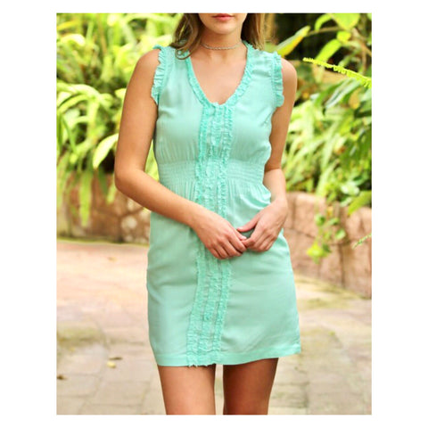 Mint Smocked Waist Sleeveless Dress with Shirred Front