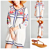 White 3/4 Sleeve Embroidered Button Down Tunic Dress
