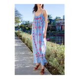 Blue Stripe Maxi Dress with Poppy Red EMBROIDERY