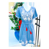 Blue Embroidered Knit Dress with RicRac Trim Sleeves & Bright Coral Tassel Tie Belt
