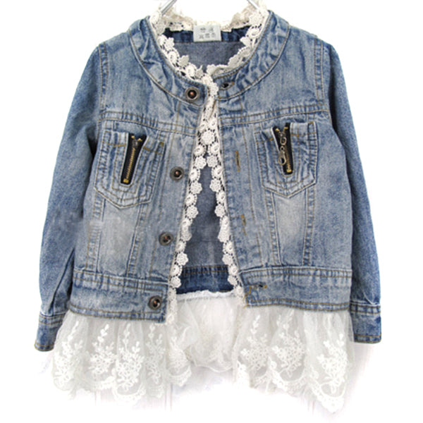 Long Sleeve Button Denim Jackets For Girls 2-7Y