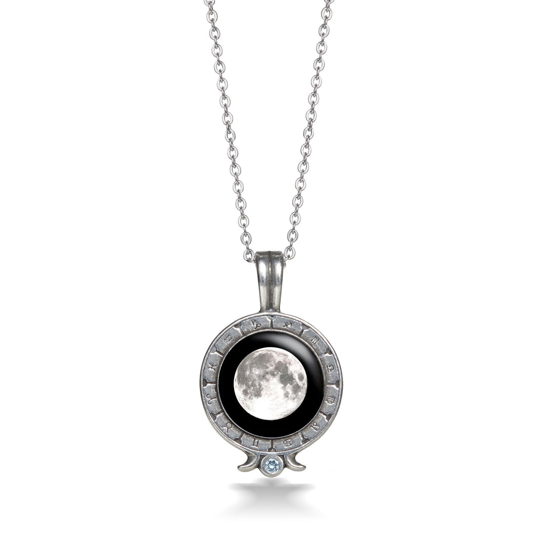 Birthstone Zodiac Necklace in Pewter