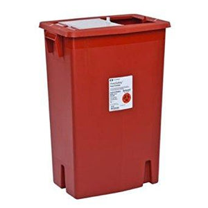 Covidien™ 18 Gallon Red Multi-purpose Sharps Container SharpSafety™ 1-Piece Sliding Lid
