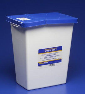 Covidien™ 8 Gallon Blue Pharmaceutical Waste Container PharmaSafety™ Nestable Vertical Entry Hinged Lid
