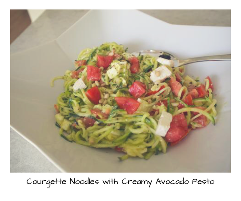 30 Day Challenge Courgette Noodles with Creamy Avocado Pesto