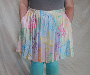 Pastel Dragons Skater Skirt with Pockets