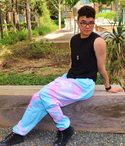 Pixel Pride Bubblegum Jogger Pants with Pockets - Trans / Transgender Pride