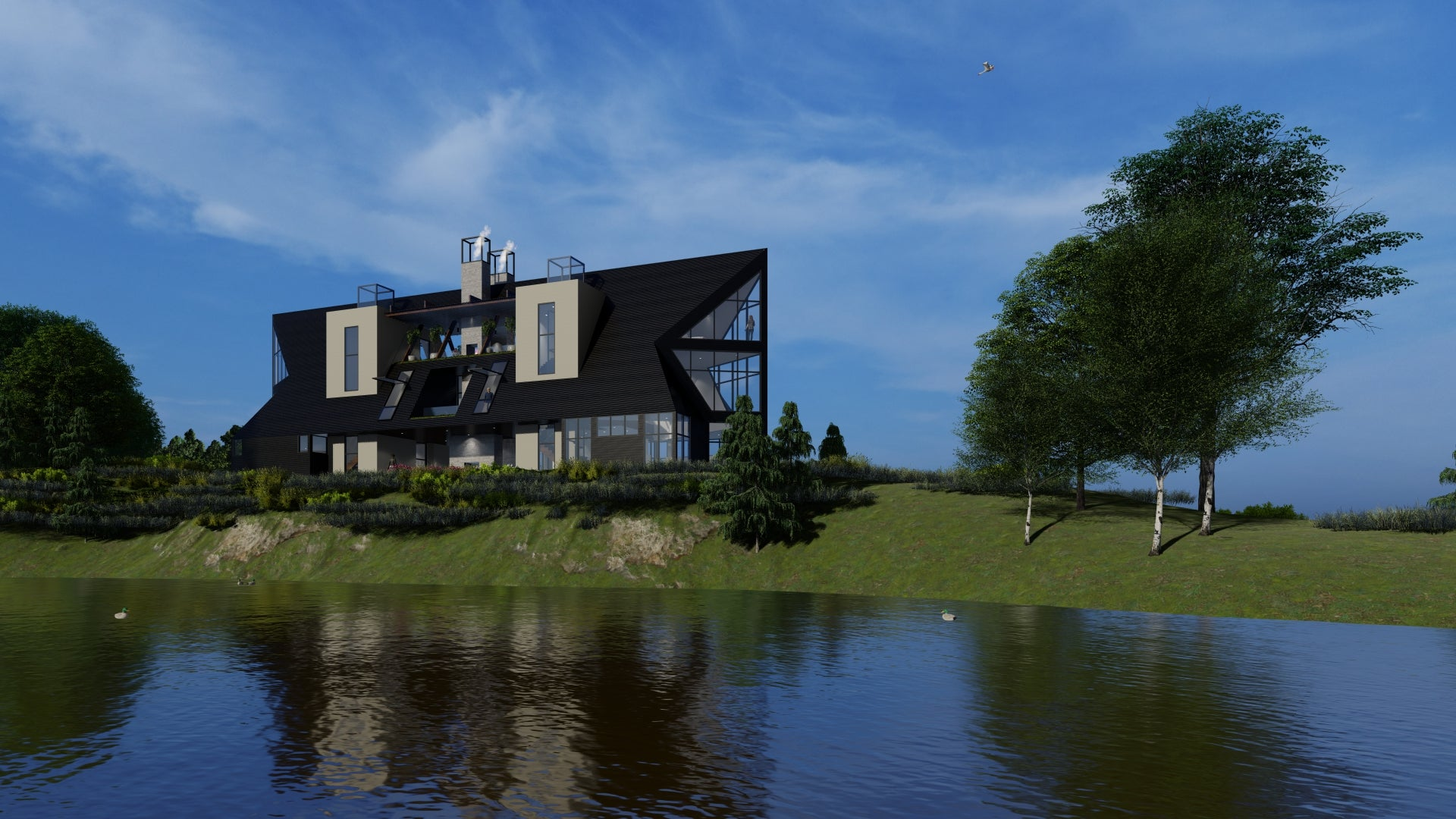 Loon House on the lake, designed by Akar Architectture.