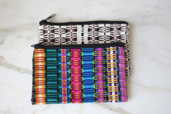 Bag - Travel Bag Colorful Mexican Woven Cosmetic from Oaxaca - The Little Pueblo