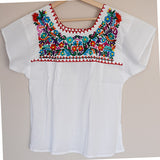 Traditional Mexican Embroidered Shirt Floral Top Blouse Handmade Gypsy Hippie - The Little Pueblo