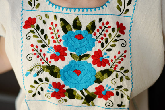 Traditional Mexican Embroidered Shirt with Blue & Red Flowers - The Little Pueblo
