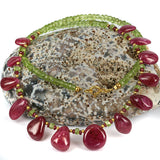 Peridot & Ruby Nugget Necklace