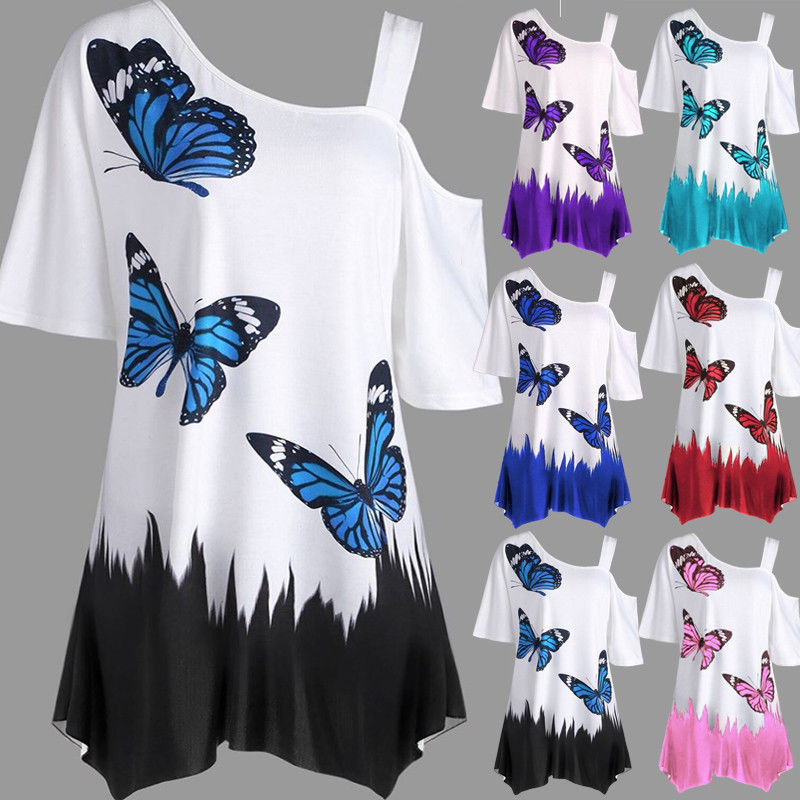 One Shoulder Butterfly Printed Plus Size Loose Tee Top