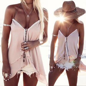 Sexy Chiffon Asymmetrical  V Neck Loose Summer Top