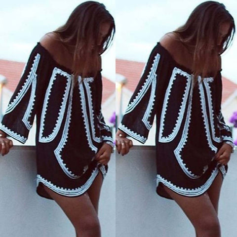 Sexy Off Shoulder Slash Neck Long Sleeve Print Summer Dress