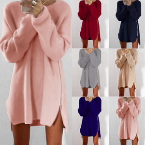 Women's Warm Loose Above Knee Polyester Plain Knitted Zipper Sweater Dresses
