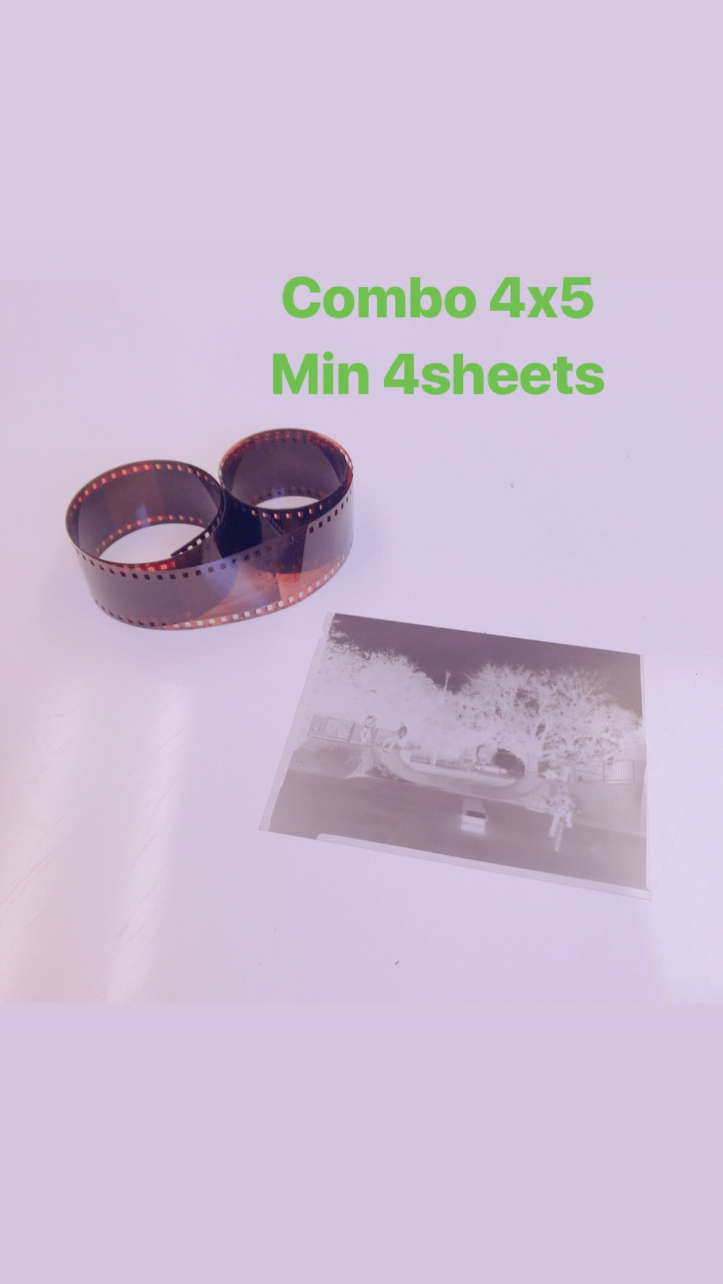 Film Develop Scan combo 4x5 (per sheet) Min 4 sheets (Standard quality)
