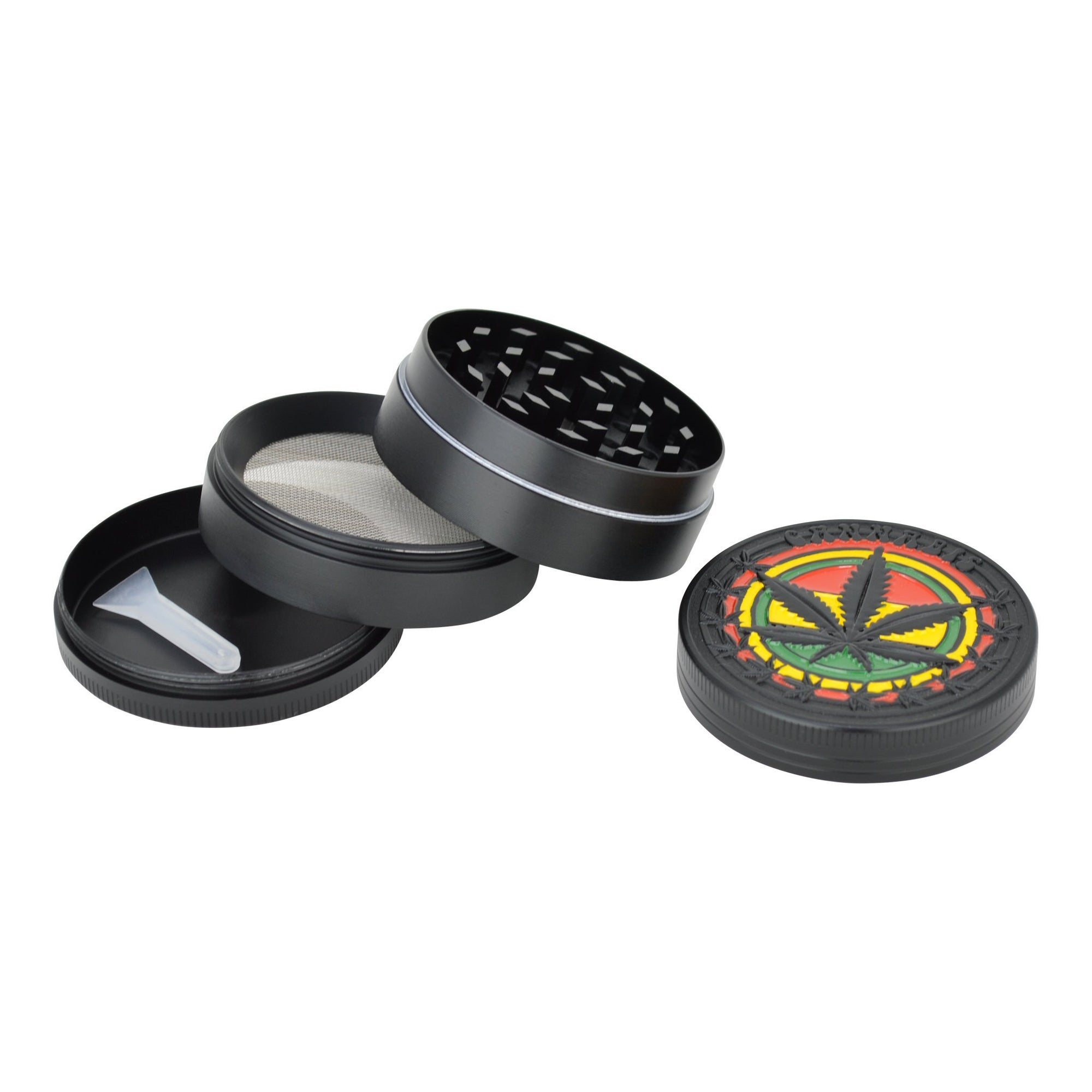 50mm round 4-part metal grinder smoking accessory with kiefcatcher with rasta weed leaf design on lid