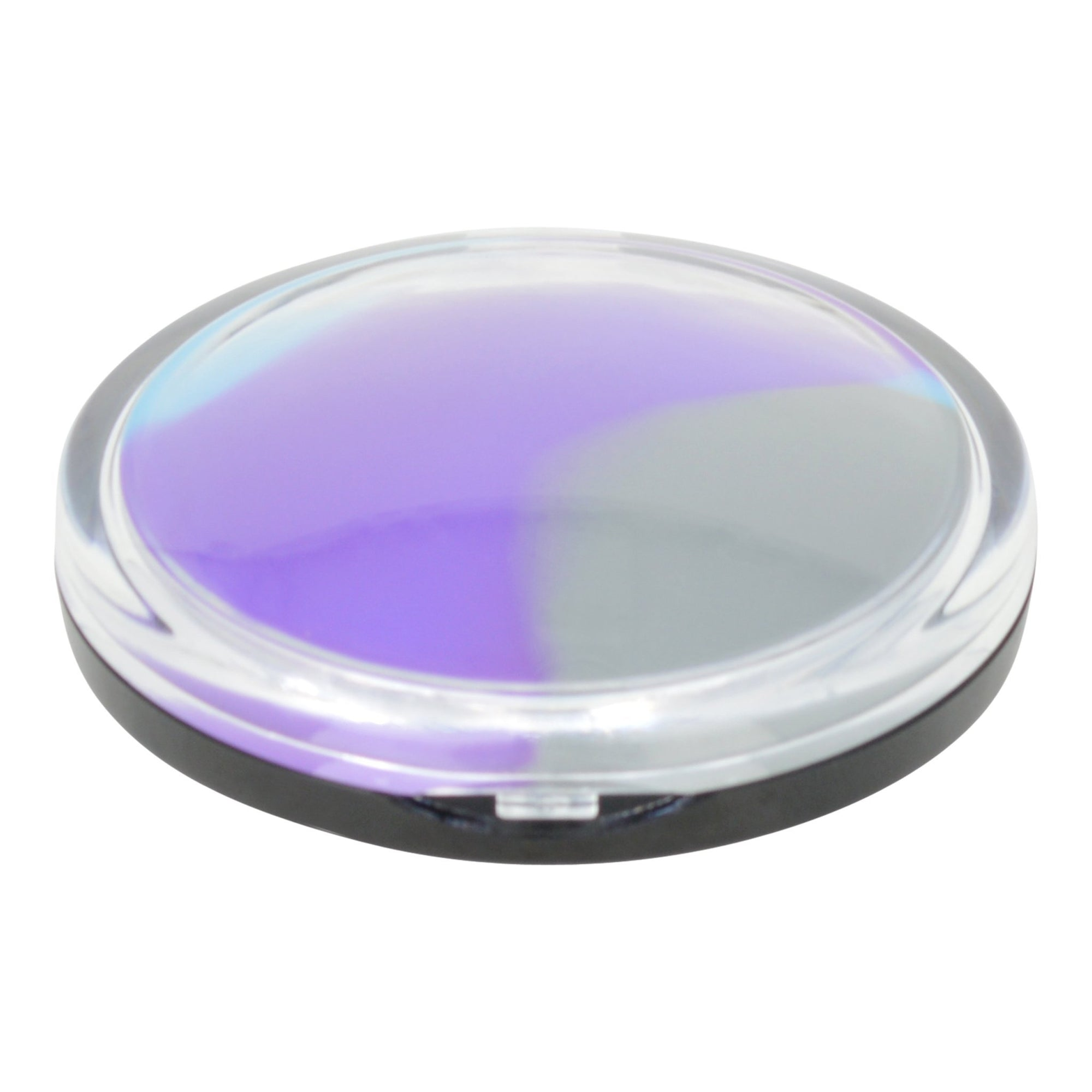 Round silicone stash container smoking accessory with clam seashell makeup compact design prismatic color