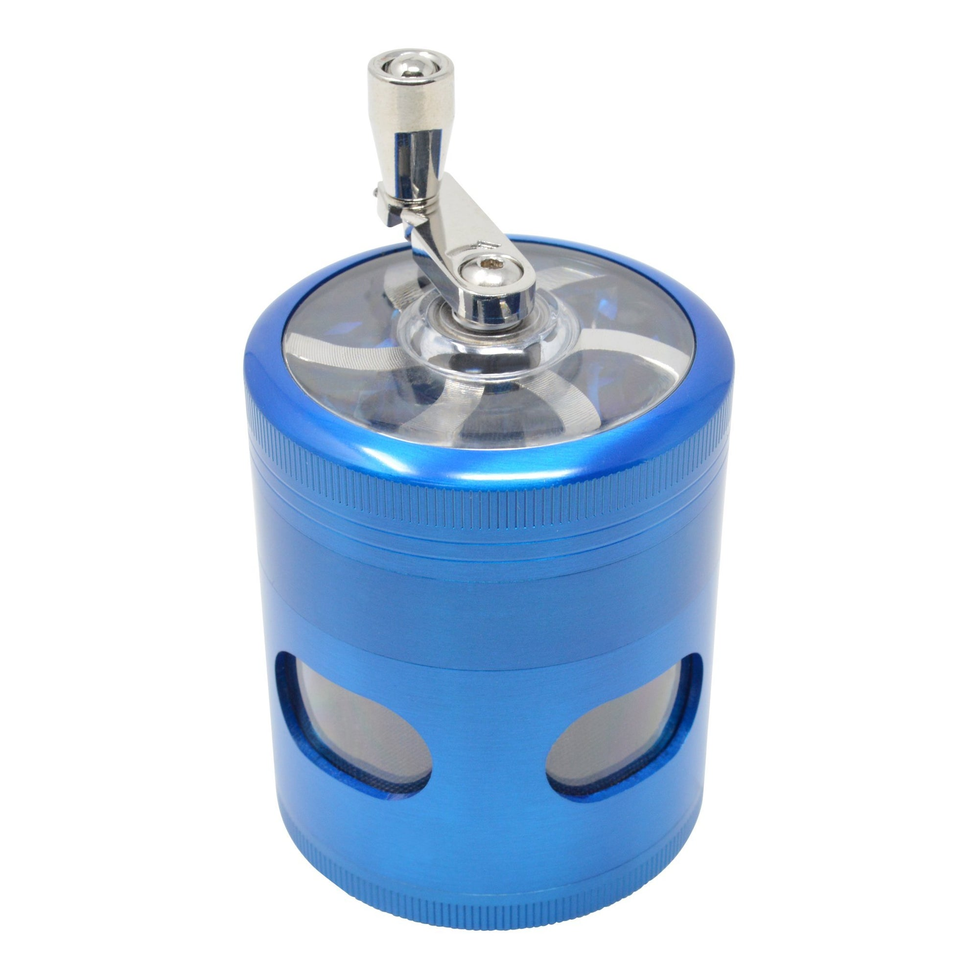 High angle shot of shiny blue 56mm dubs grinder smoking accessory with hand crank mechanical sharpener look