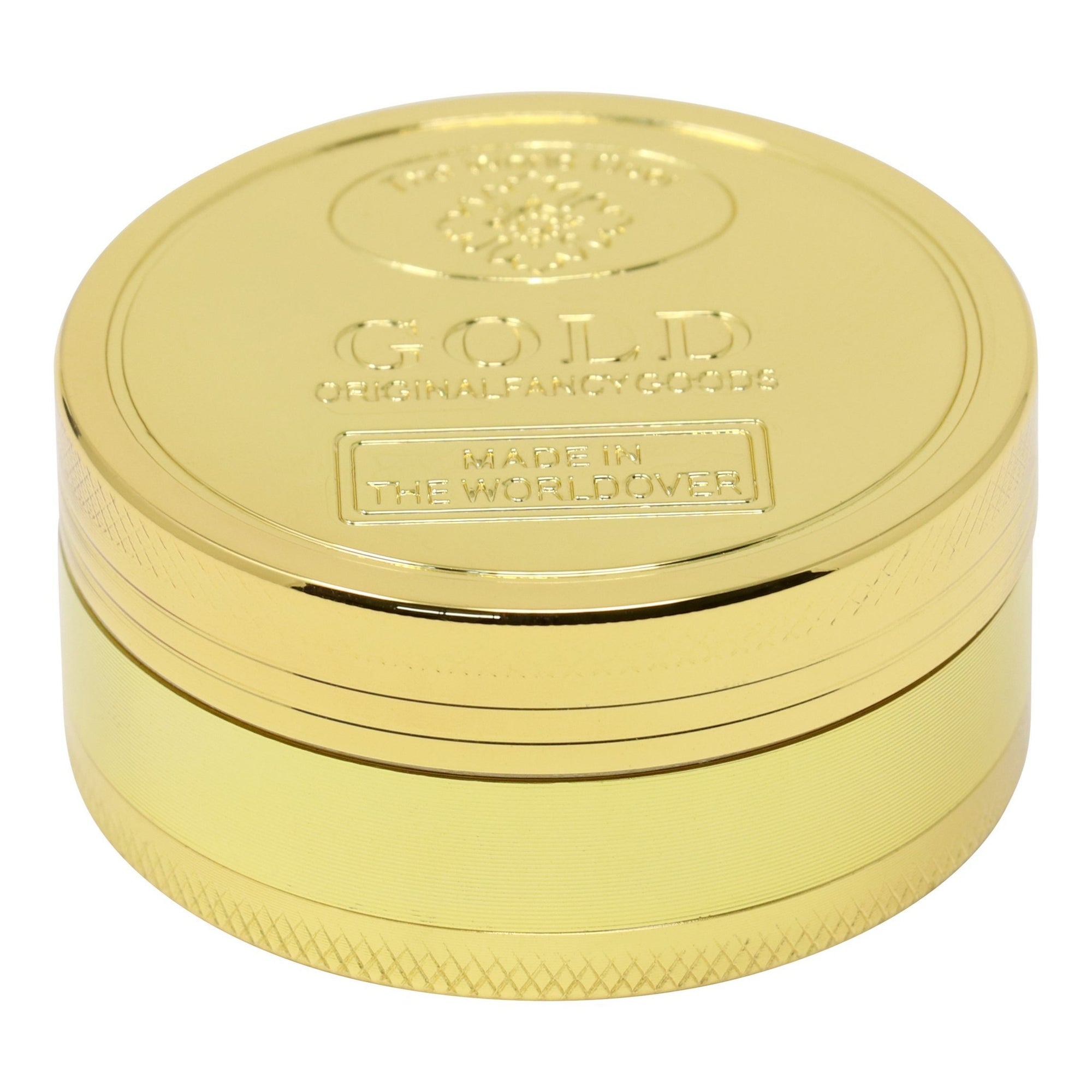 Elegant 40mm in diameter slick metal herb grinder in smooth glossy exterior word gold embossed on lid
