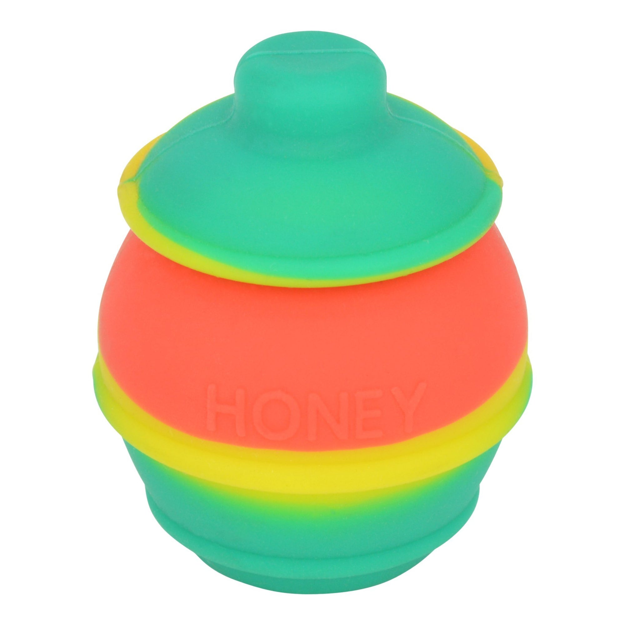 High angle front shot of rasta honey pot silicone wax container green, yellow, orange colors honey word in front
