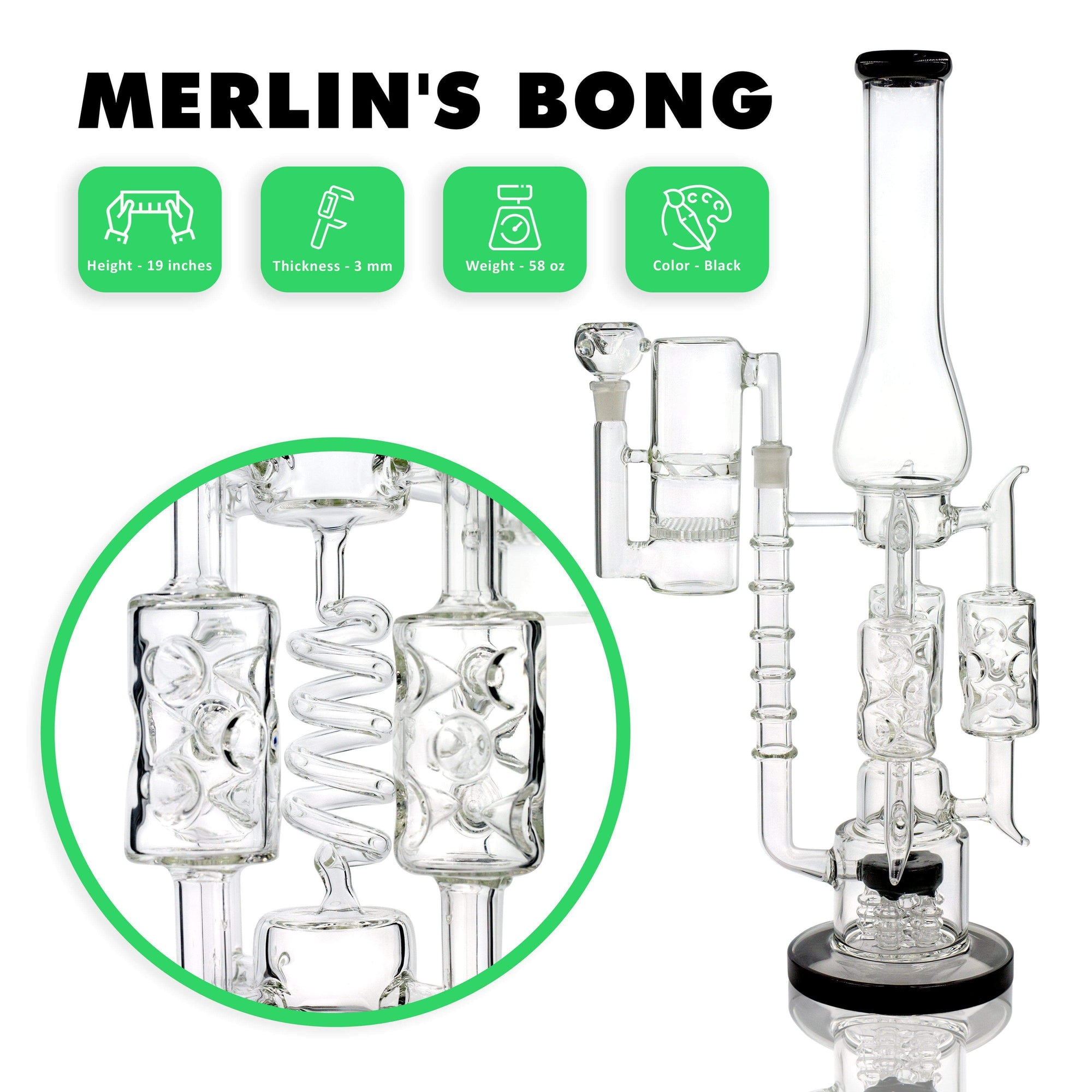 Intricate and detailed big 19-inch glass bong smoking device with honeycomb turbine inset 3 spiral percolators