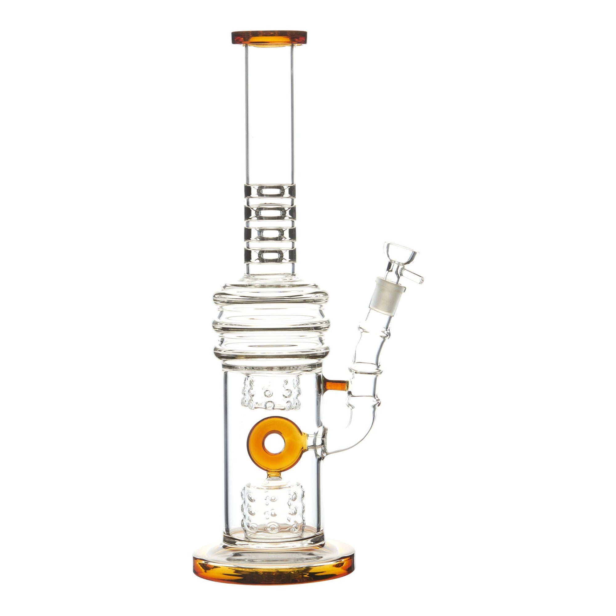 Amber 15-inch glass bong smoking device donut downstem colorful accents sleek and classic look sturdy base