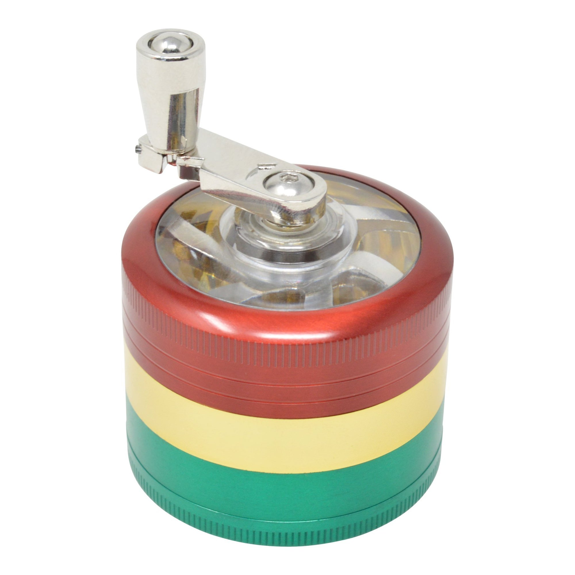 High angle shot of closed rasta dub grinder in red, yellow, green colors with hand crank on left slightly back
