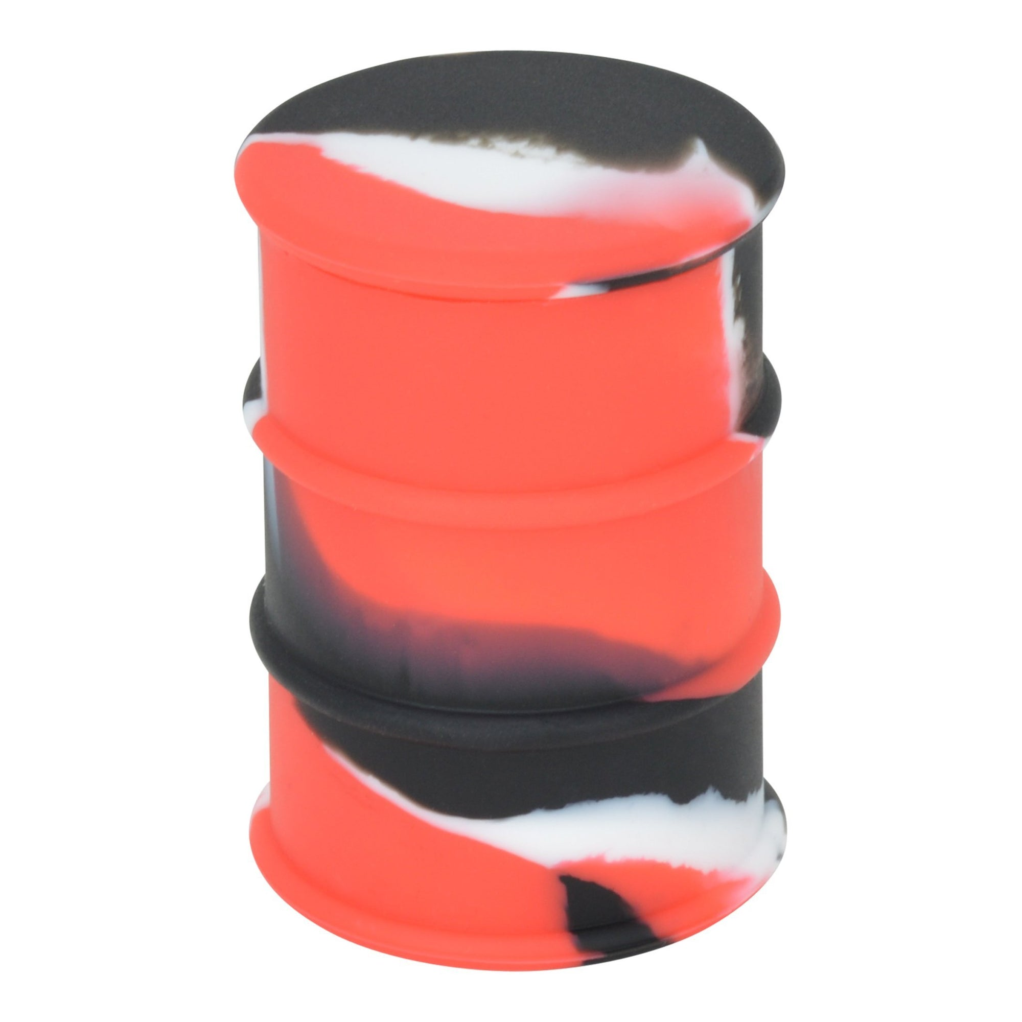 Pocket-friendly silicone wax container smoking accessory with classy swirling colors and drum container barrel look and shape